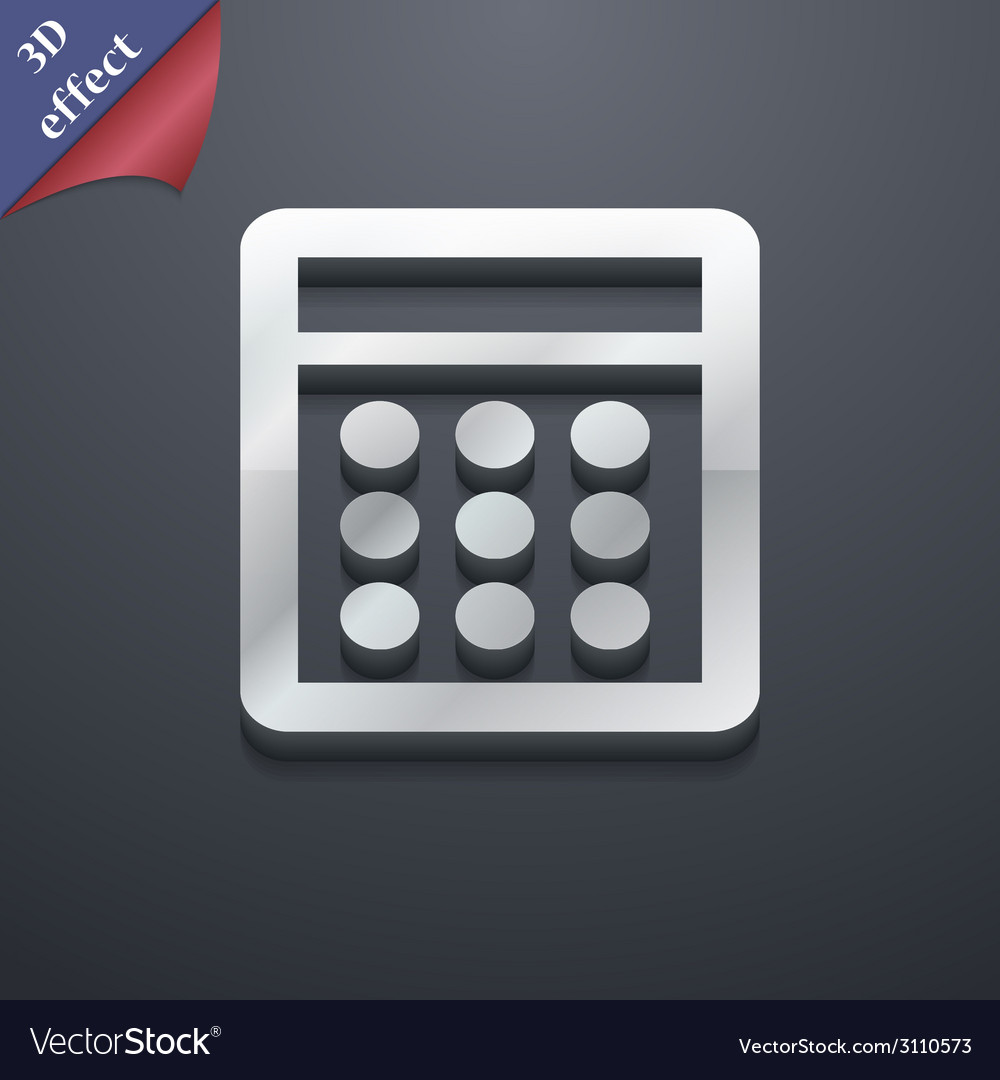 Calculator icon symbol 3d style trendy modern vector