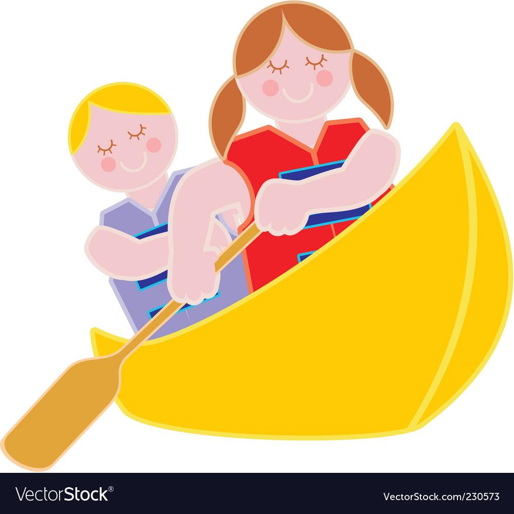 Youth in a canoe vector