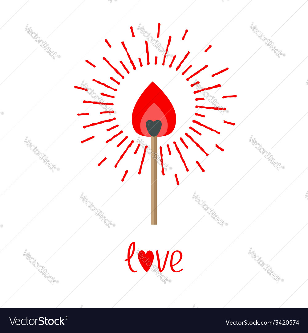 Burning love match with red and orange fire light vector
