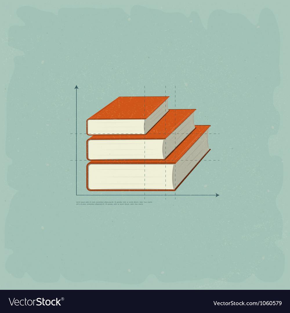 Vintage infographics books vector