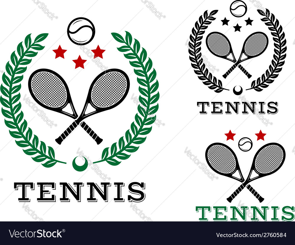 Tennis sporting emblems and symbols vector