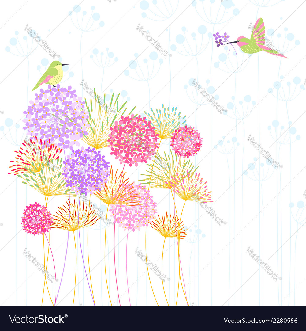 Colorful hummingbird and flower vector