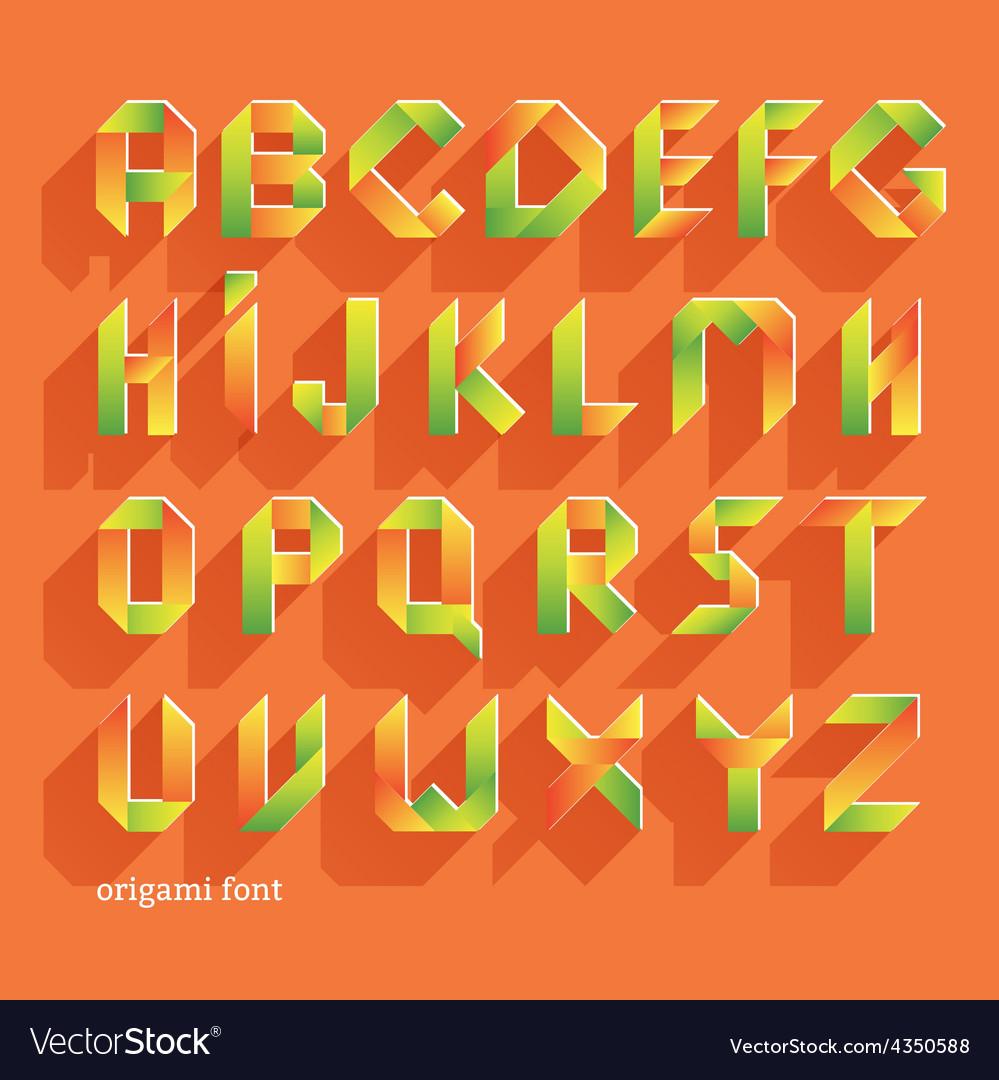 Origami orange flat font vector