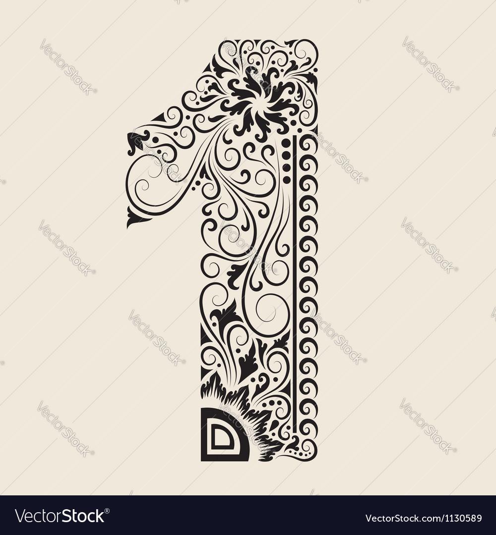 Number 1 floral decorative ornament vector