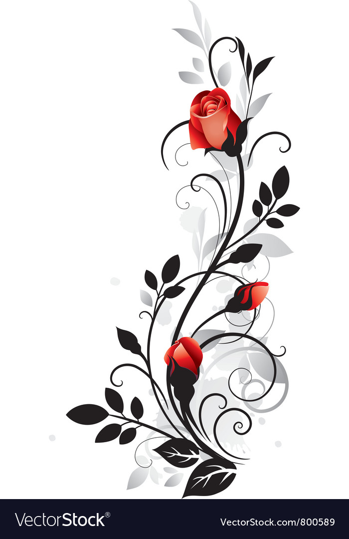 Ornament with rose vector