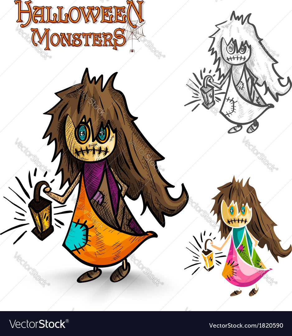 Halloween monsters scary cartoon dirty witch eps10 vector