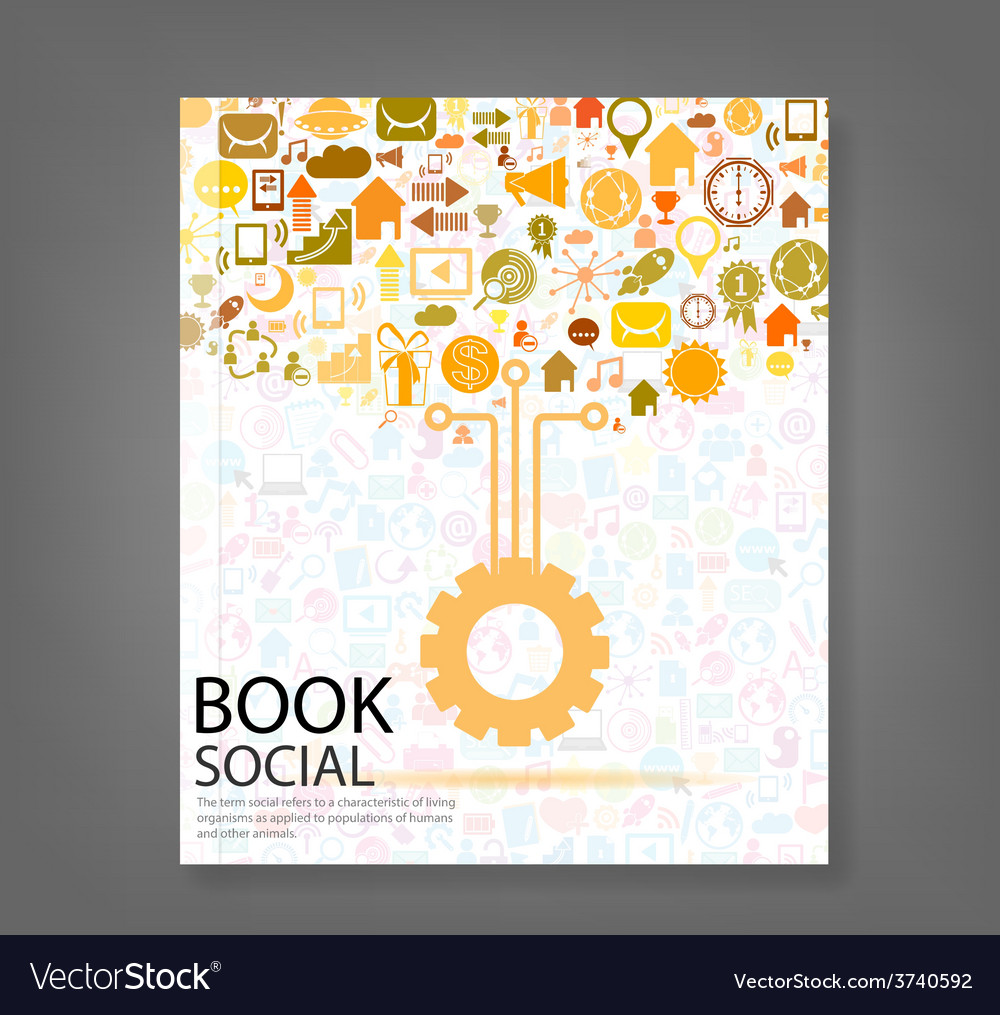 Cover report social network background with media vector