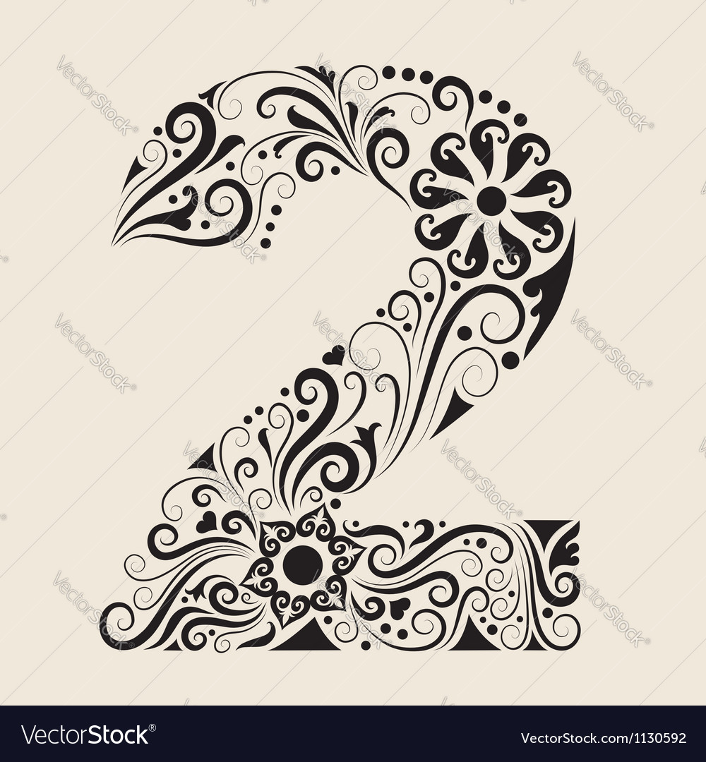 Number 2 floral decorative ornament vector
