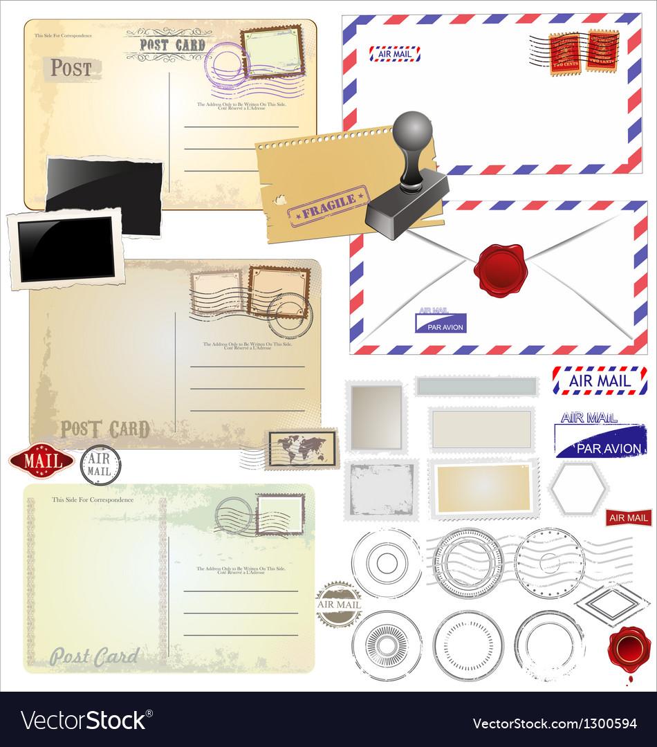 Vintage postcard designs and postage elements vector