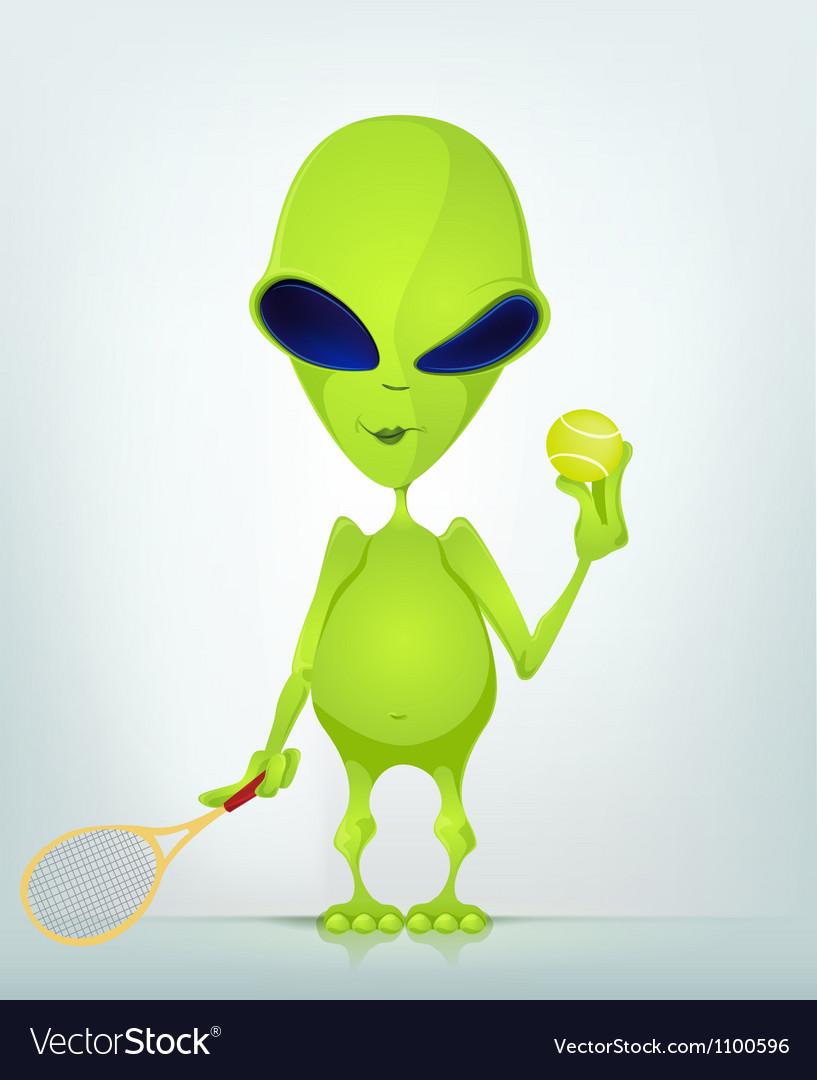 Cartoon alien tennis vector