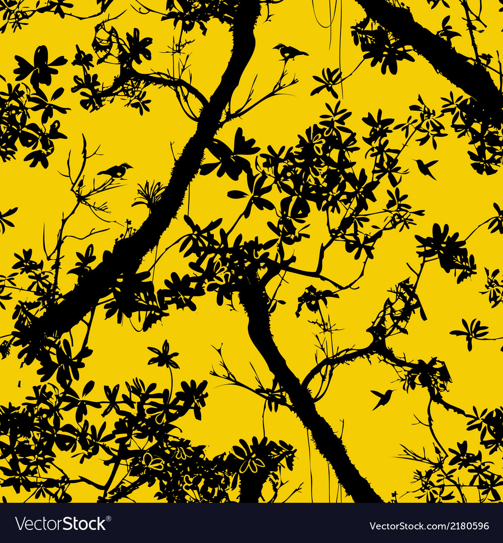 Seamless floral pattern with trees vector