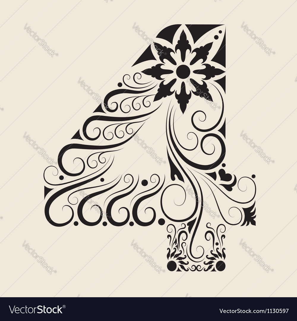 Number 4 floral decorative ornament vector