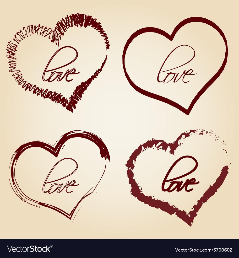 Set of red retro love heart grunge symbols eps10 vector