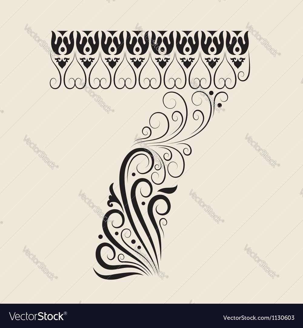 Number 7 floral decorative ornament vector