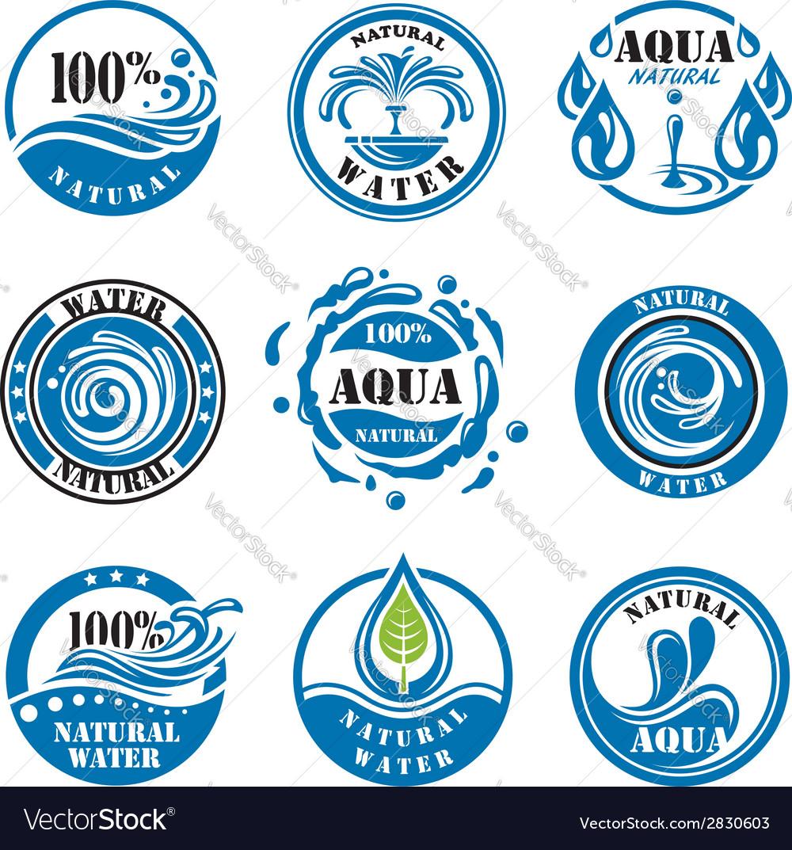 Water labels vector