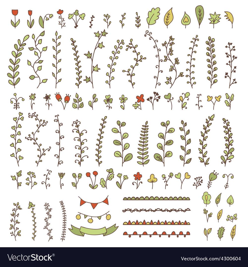Cute wedding hand drawn vintage floral elements vector