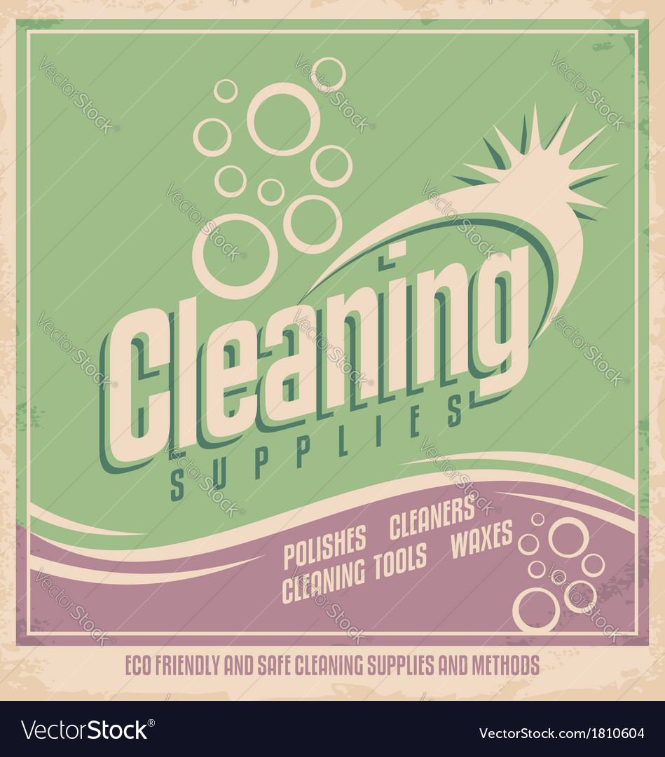 Vintage poster design for cleaning service vector