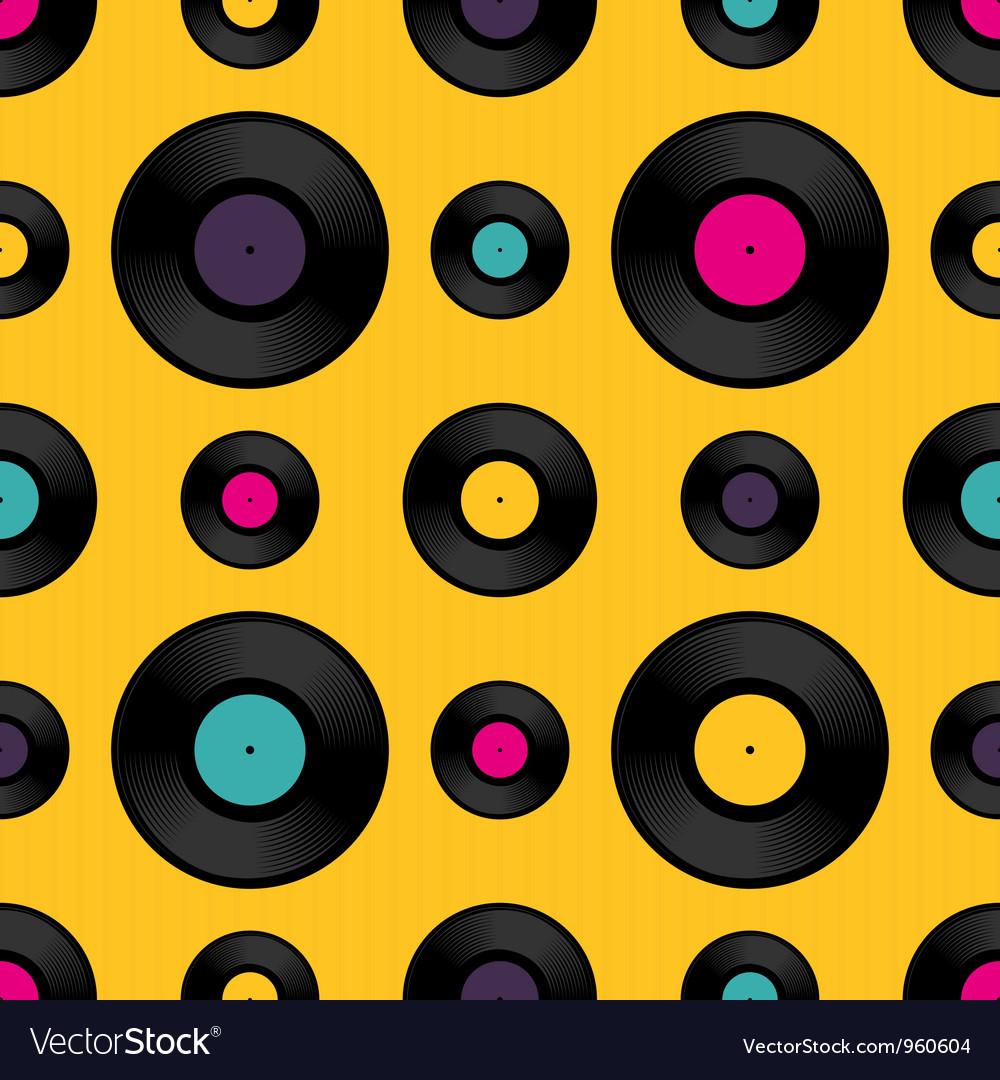 Vinyl record seamless background pattern vector