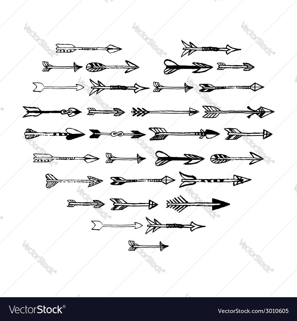 Black hand drawn arrows heart composition vector