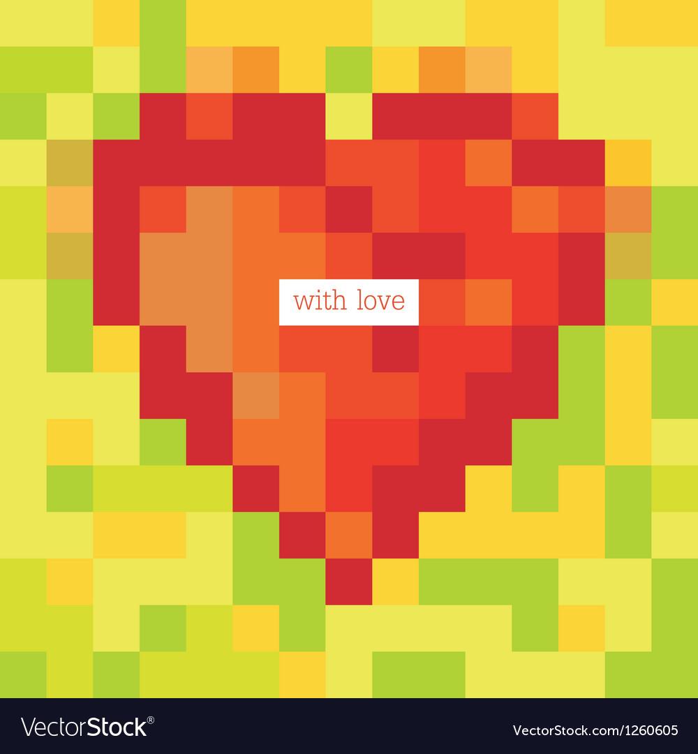 Pixel heart symbol vector