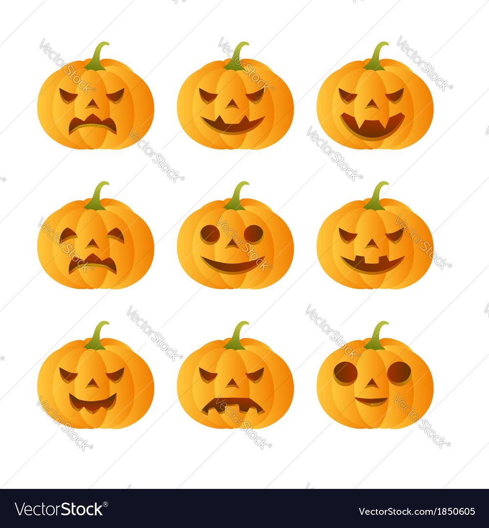 Set of 9 carved pumpkins vector