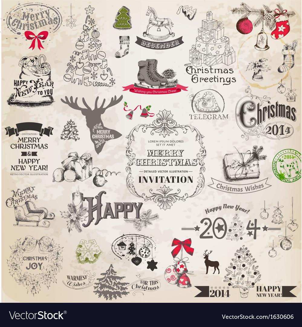 Set christmas calligraphic design elements vector