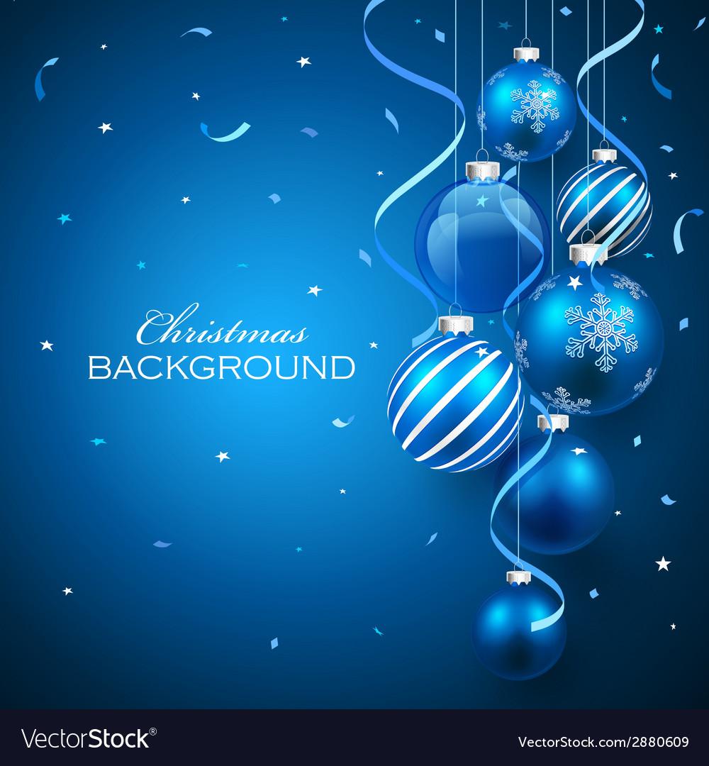 Christmas balls on blue background vector