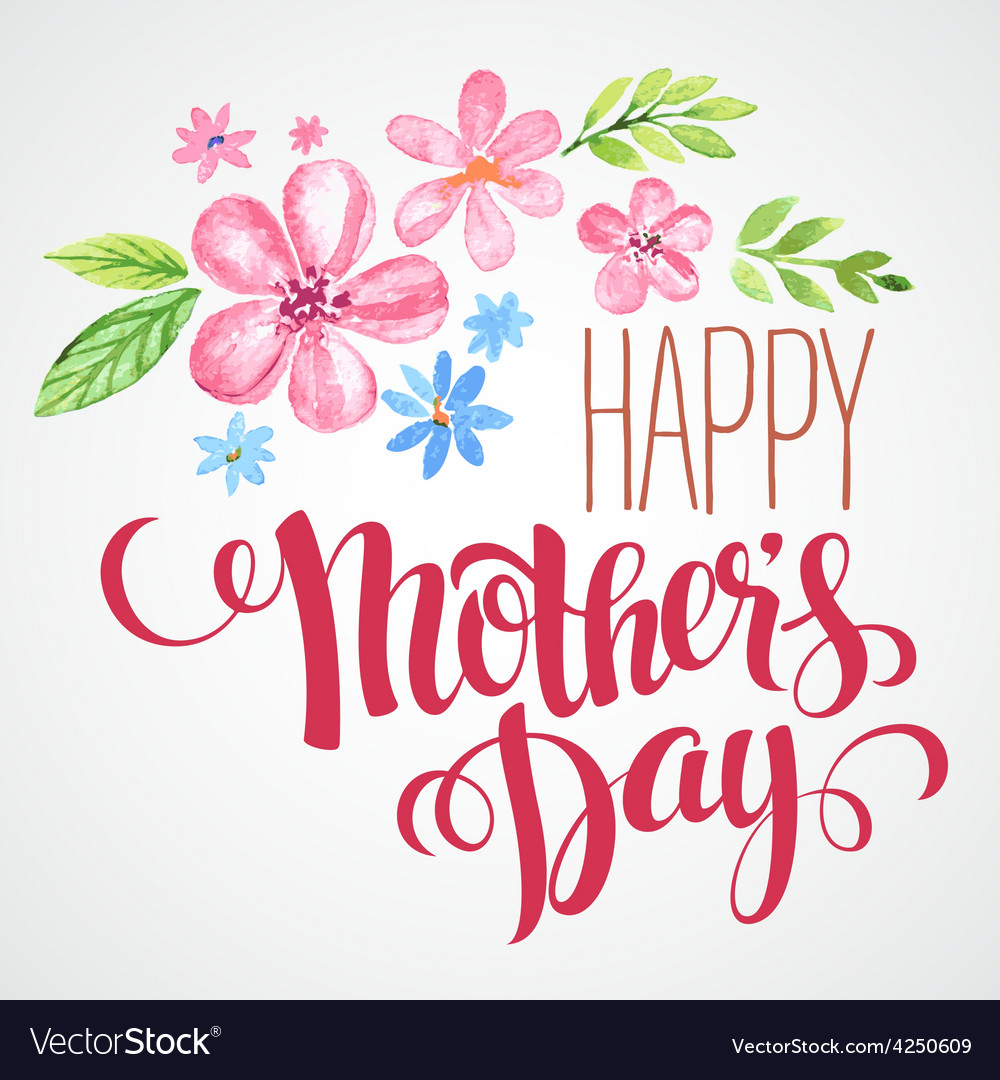 Happy mothers day hand-drawn card vector