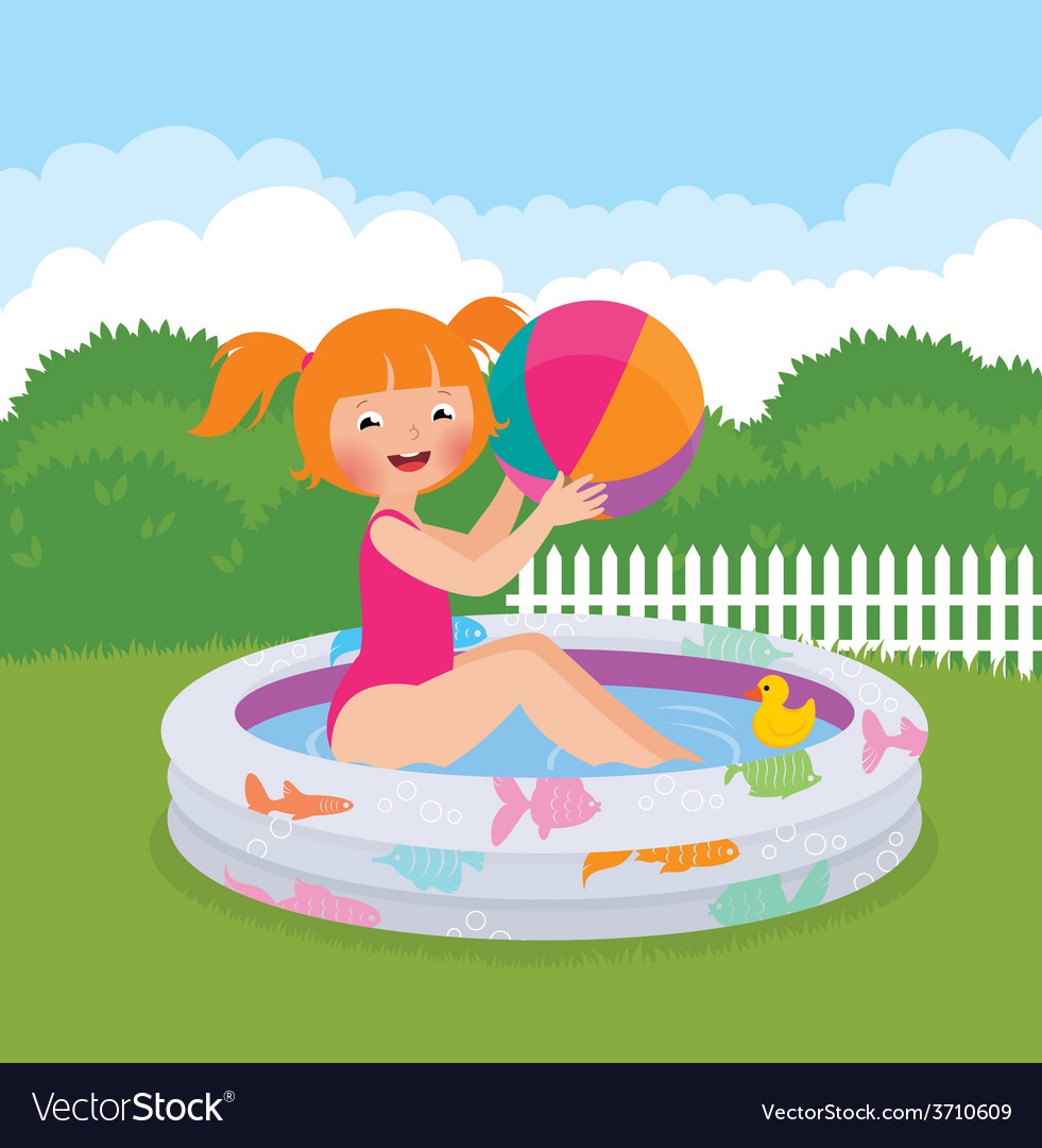 Little girl splashing in an inflatable pool in his vector