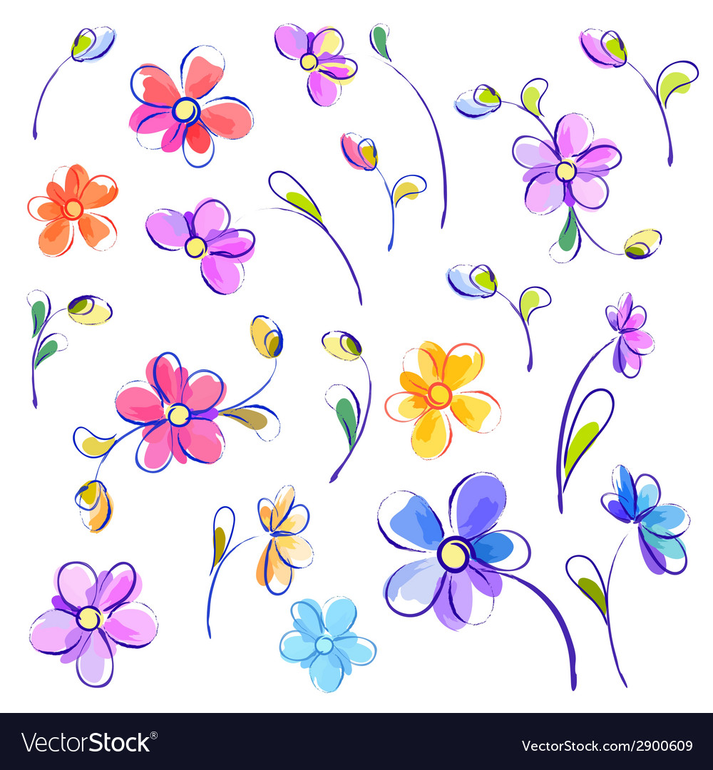 Set of isolated watercolor flowers vector