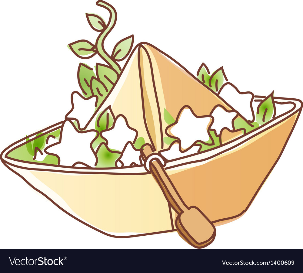 The stars on a paper boat vector