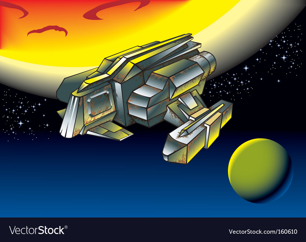 Spacescape flying shuttle vector
