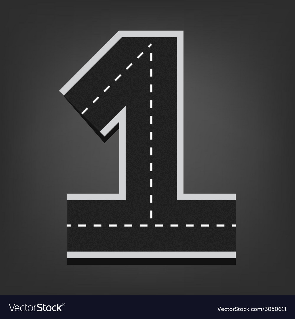One number road font vector