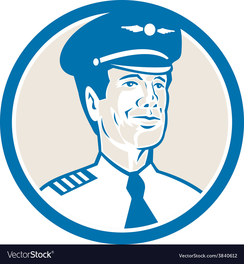 Flight engineer navigator circle retro vector
