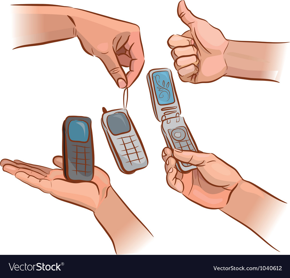 Hands with mobile phone vector
