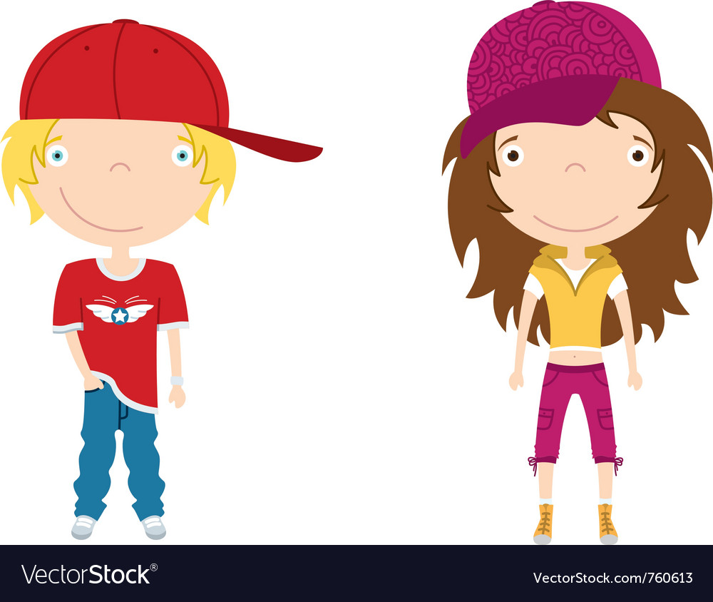 Cute modern boy and girl color vector