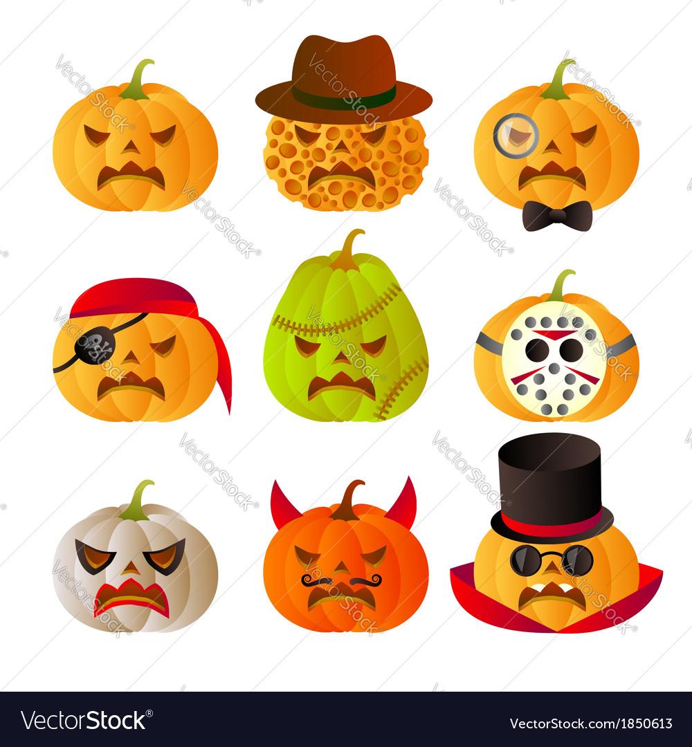 Set of 9 halloween carved pumpkins vector