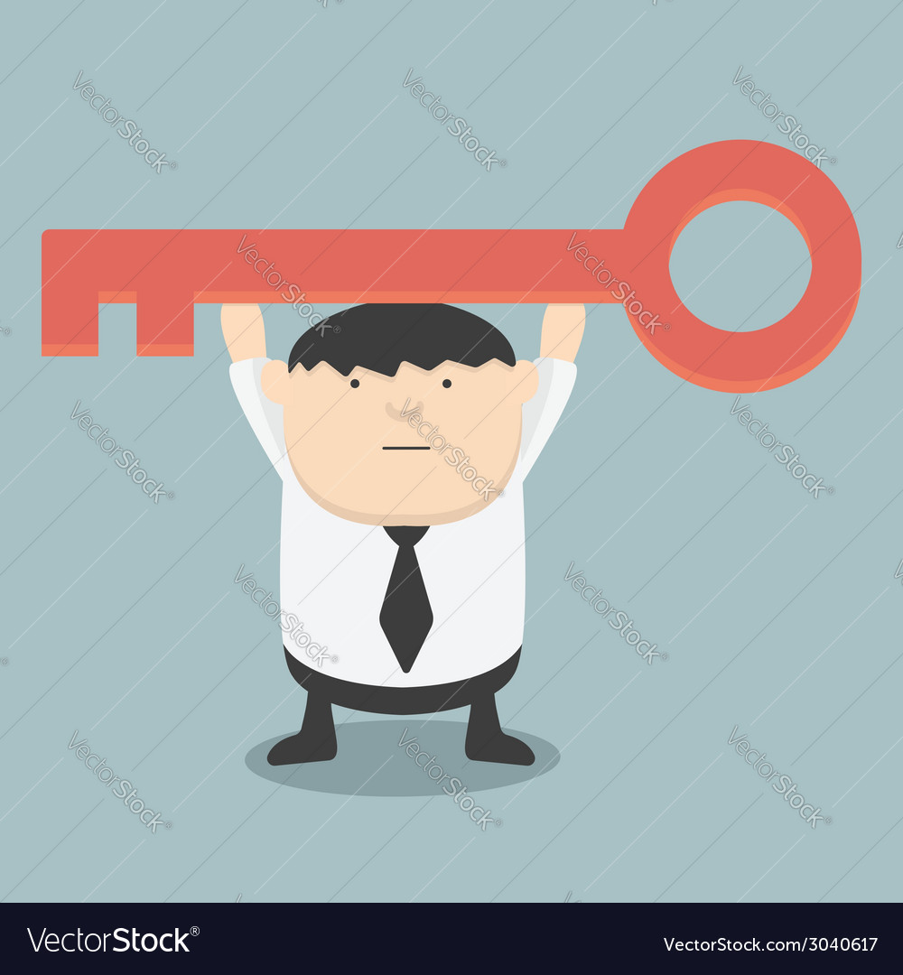 Fat businessman is holding a golden key of success vector