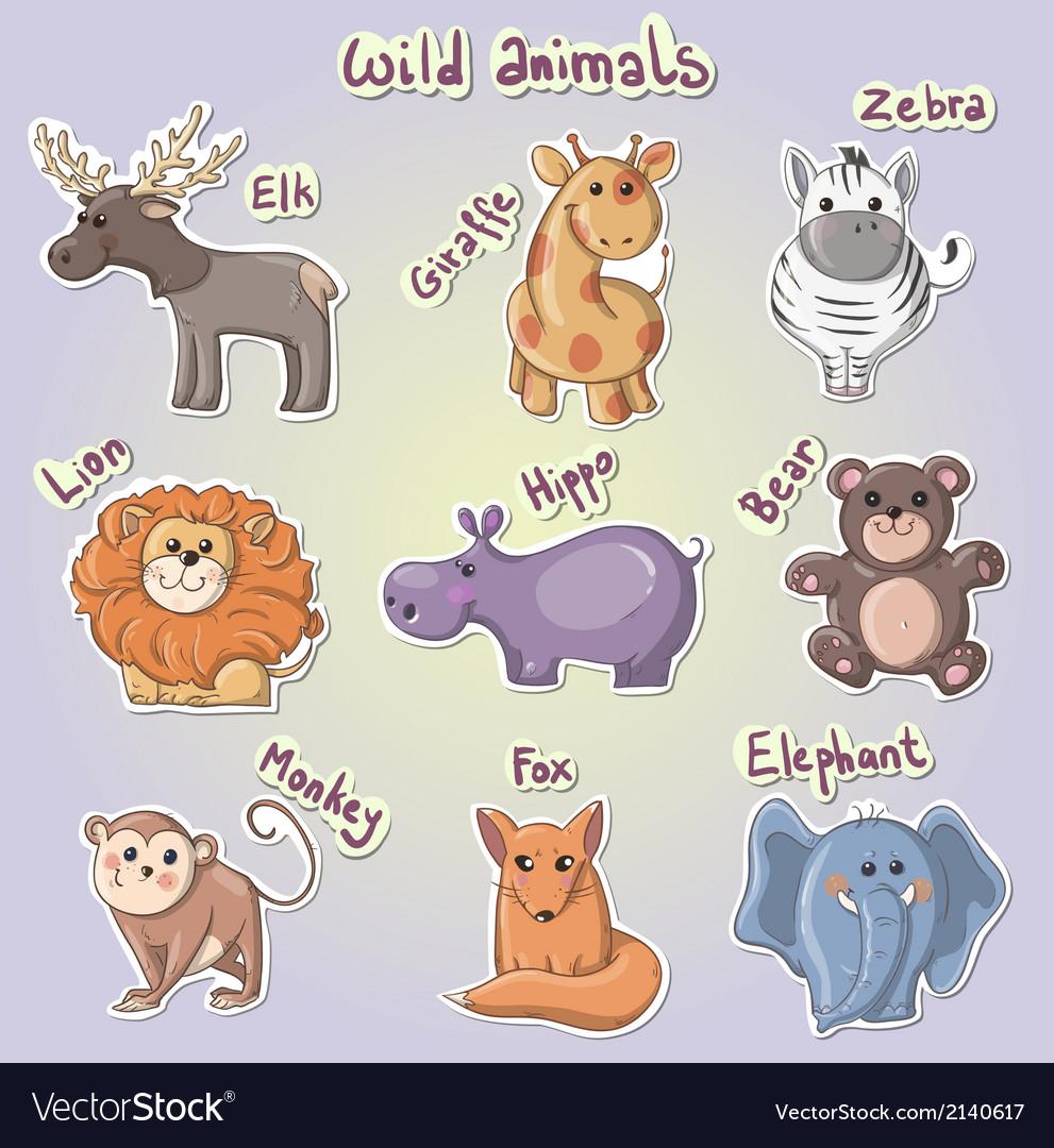 Set of cartoon wild animals vector