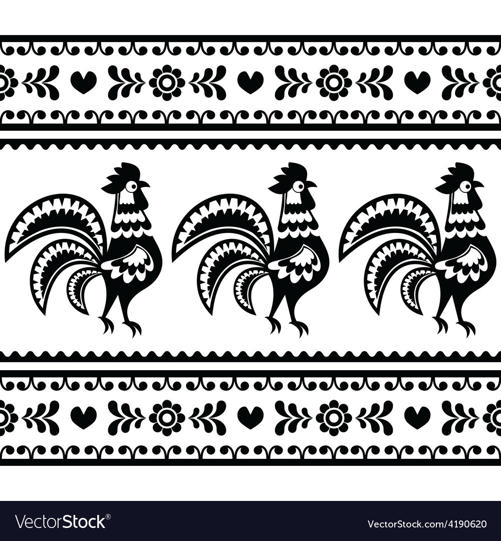 Seamless polish monochrome folk art pattern vector