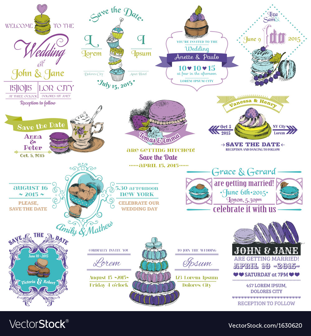Wedding vintage invitation collection - dessert an vector
