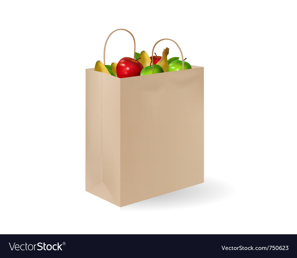 Grochery bag with fruits vector