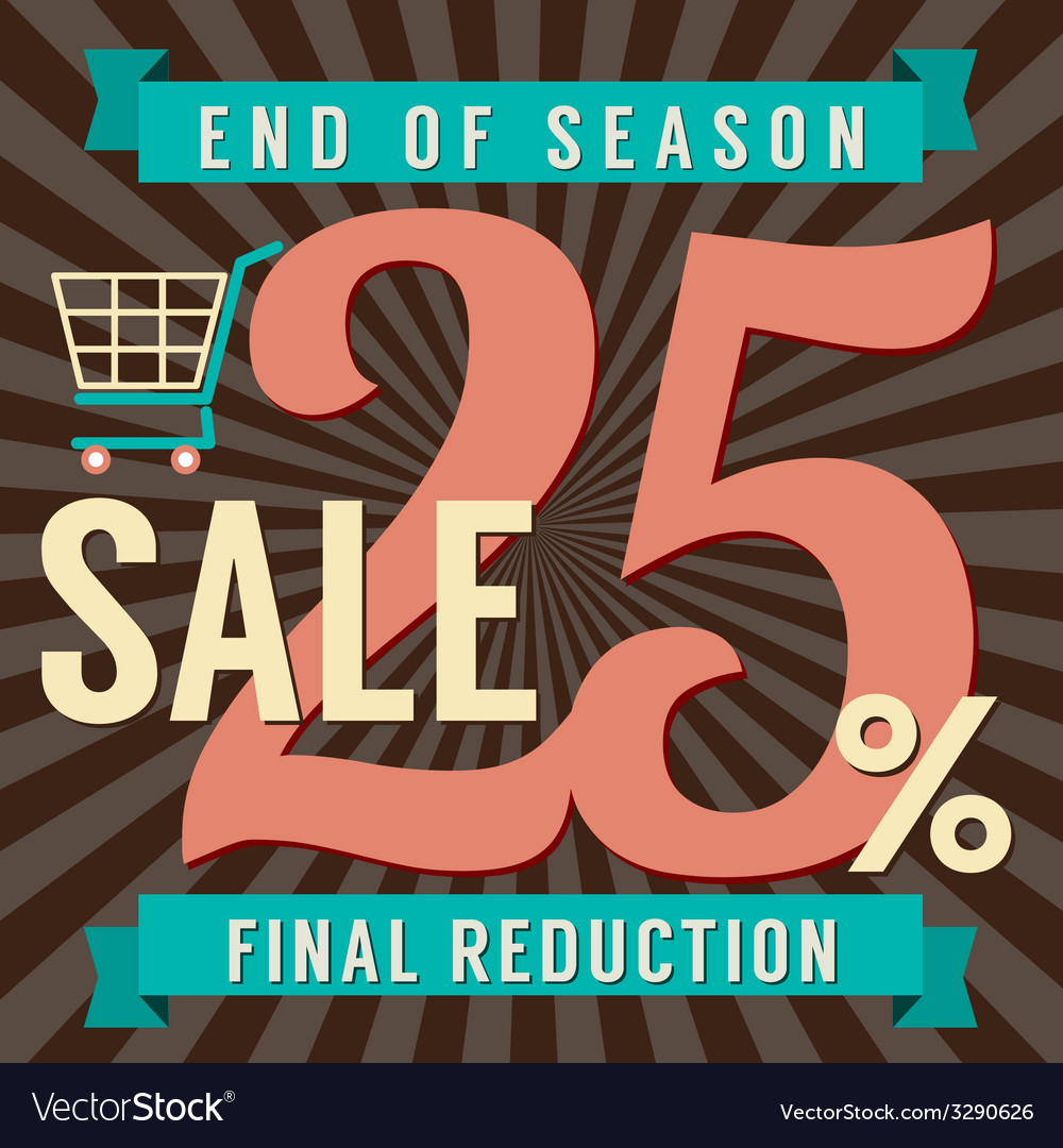 25 percent end of season sale vector