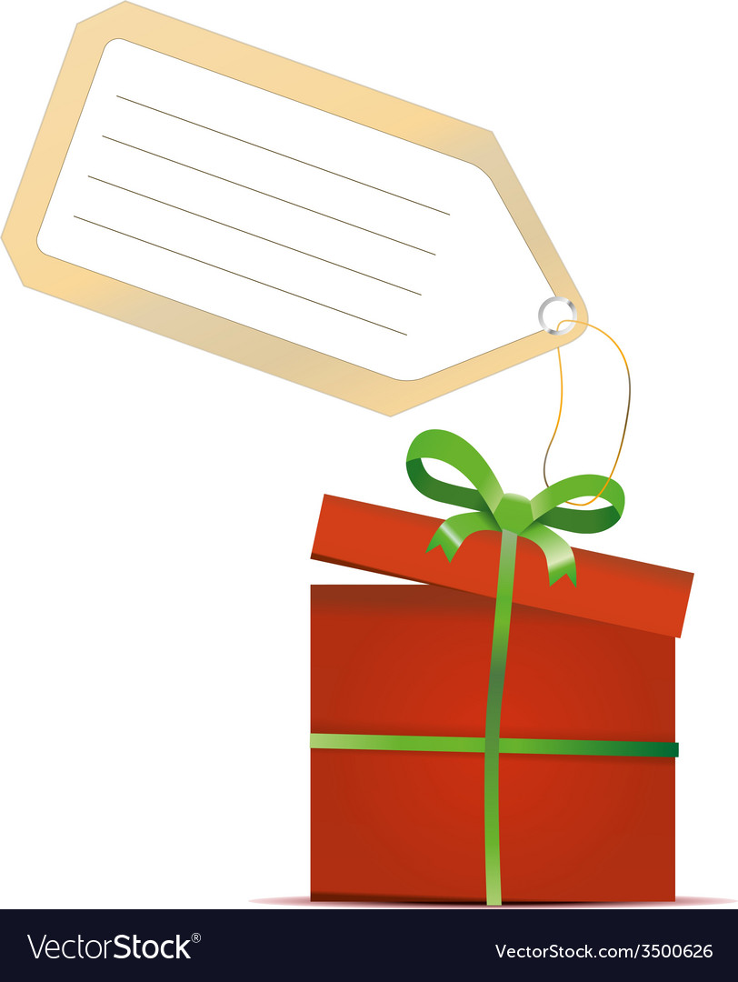 Red gift box with green ribbon and tag isolated on vector