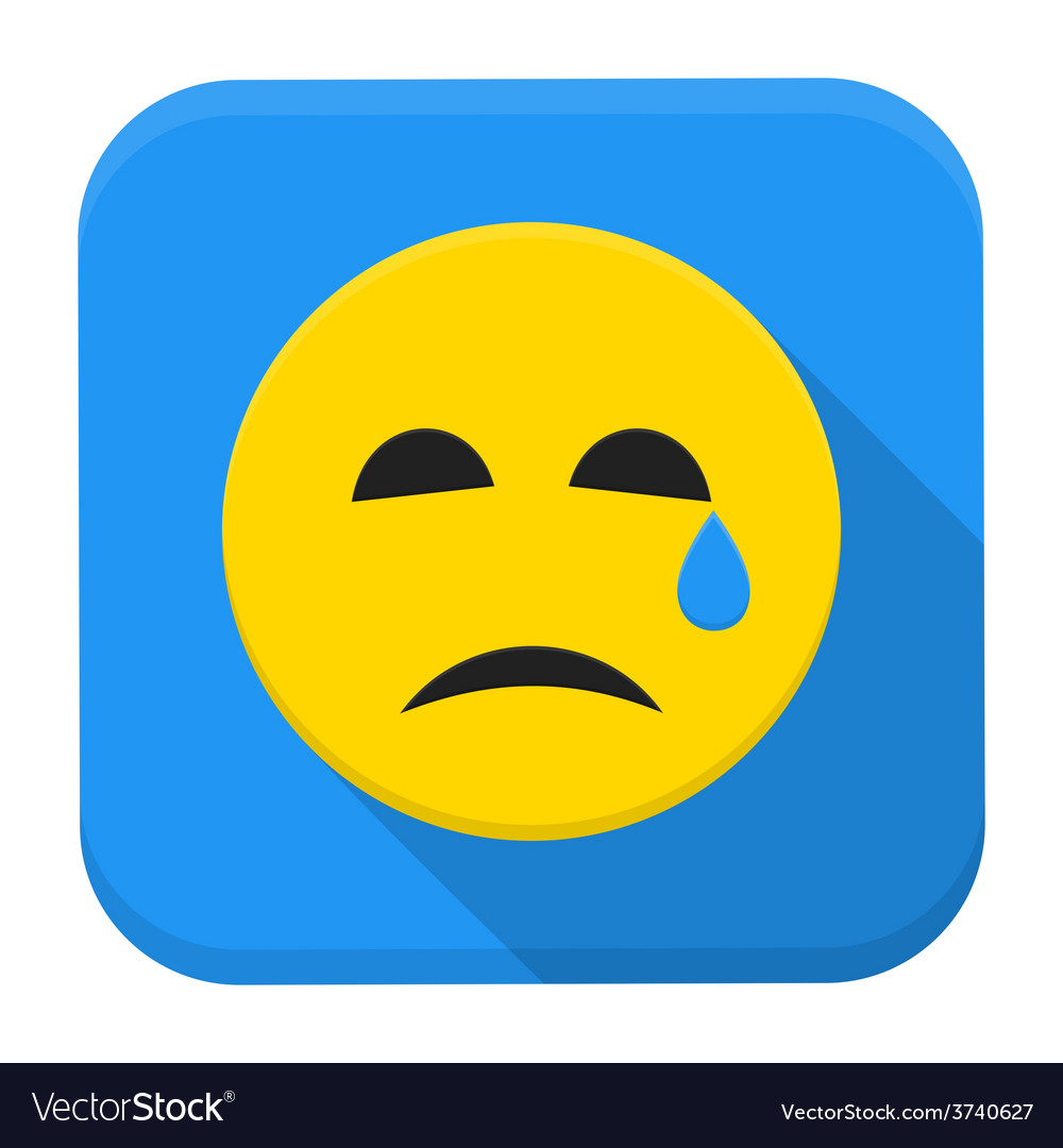 Crying yellow smile app icon with long shadow vector