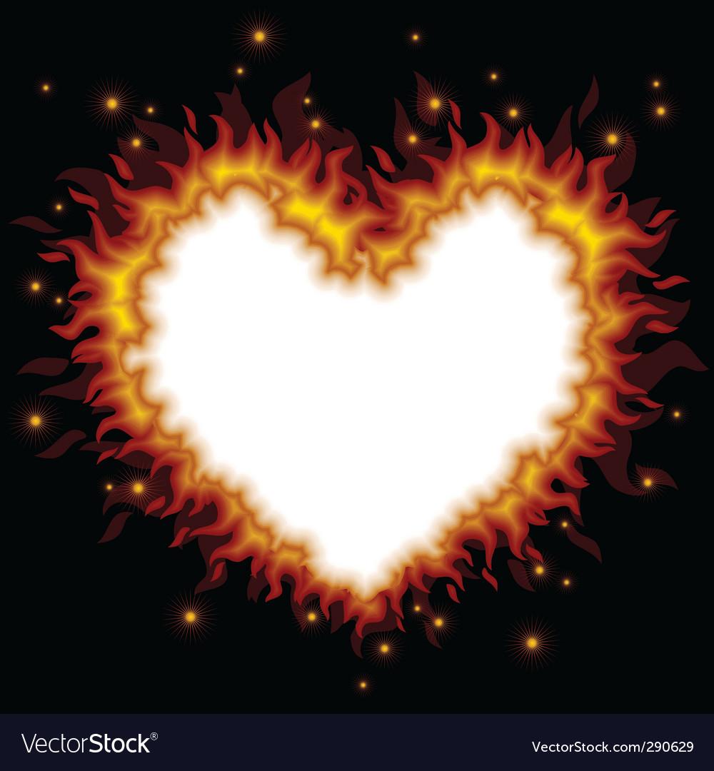 Fiery heart card vector
