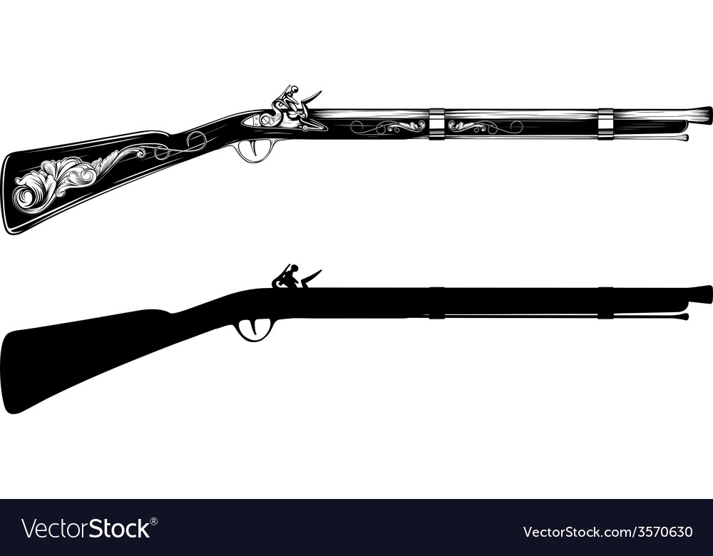 Old flintlock rifle vector