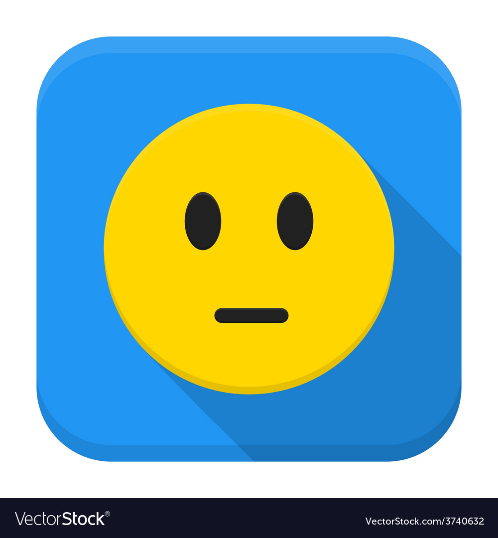 Pensive yellow smile app icon with long shadow vector