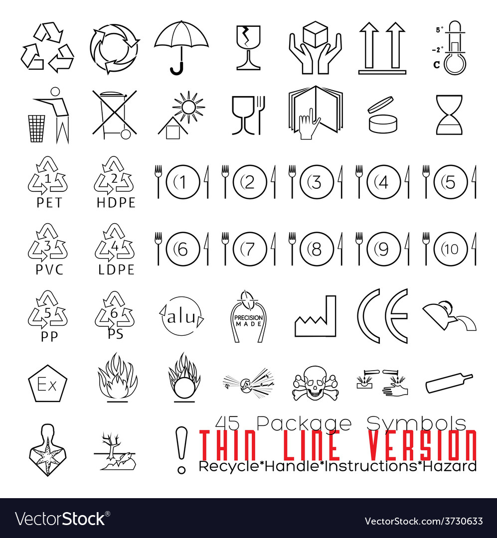 Collection of 45 packaging symbolsrecycle handle vector