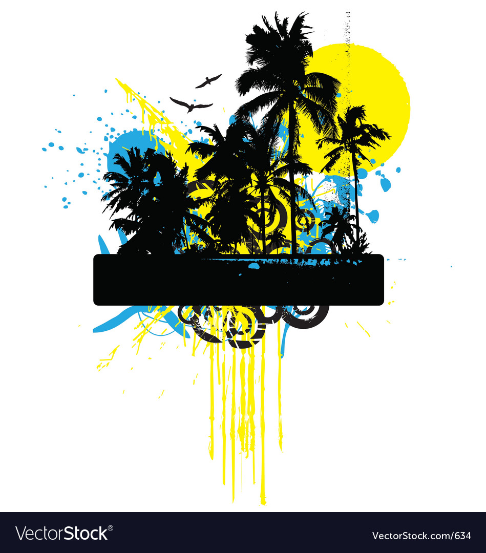 Tropical grunge graphic vector
